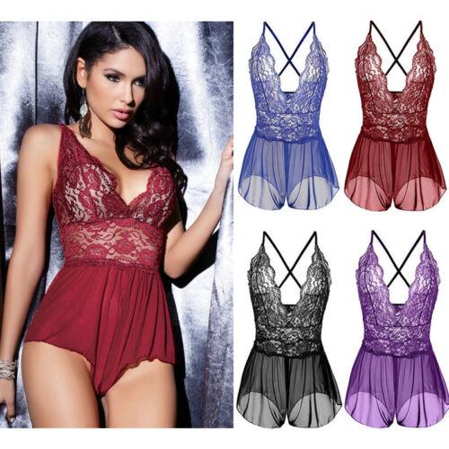 Sexy-Lingerie-Sleepwear-Lace-Women-Open-Crotch-Bodysuit-Teddy-Underwear-Babydoll