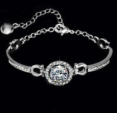 Charm Hearts Arrows 3.5 CT TDW Diamond Sterling Silver Bracelet