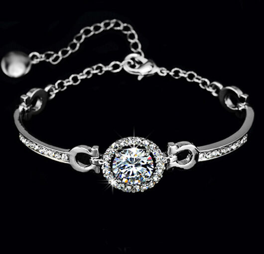 Charm Hearts Arrows 3.5 CT TDW Diamond Sterling Silver Bracelet
