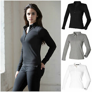 Ladies-Long-Sleeve-Polo-Shirt-Slim-Fit-Fitted-Top-8-18-Stretch-Cotton-Elastane