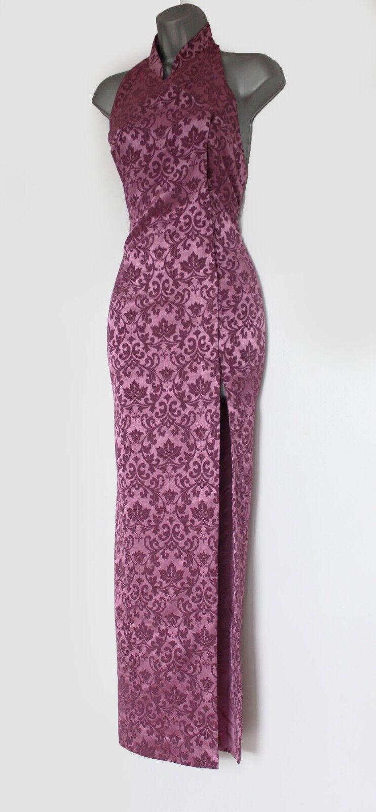 KAREN MILLEN Vintage lila Jacquard Halterneck Chinese Style Maxi Maxi Maxi Dress UK 8 36 1ae70f