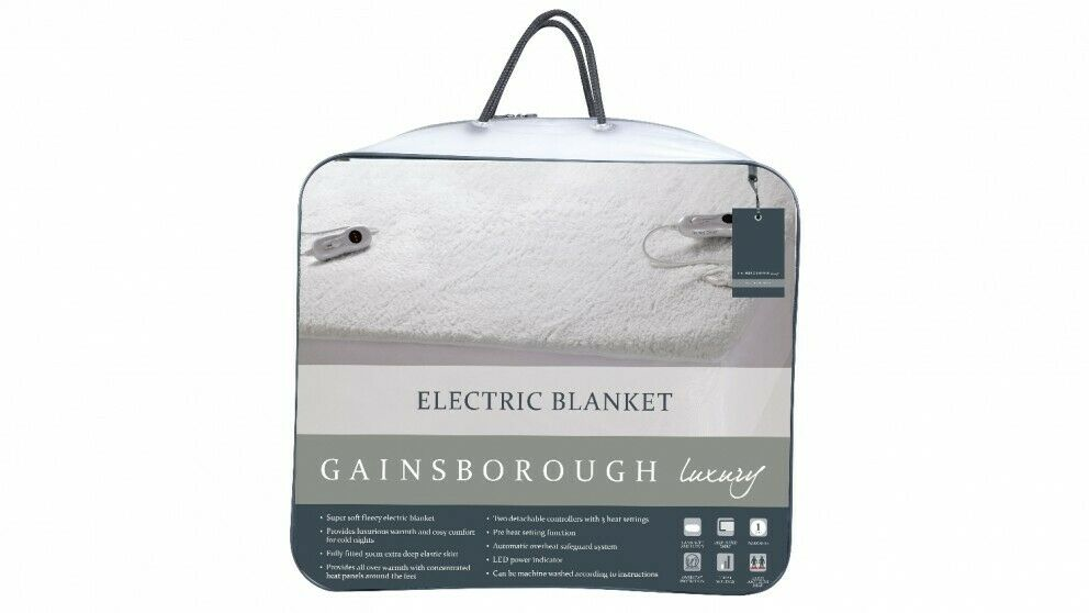 GainsbGoldugh Super Soft Fleecy 50cm Deep Fitted Electric Blanket King & Queen...
