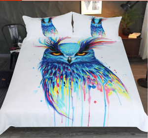 Into the Blue Bedding Set Animal Duvet Cover Colorful Bedclothes Watercolor owl