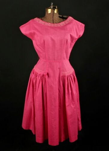 VTG Women's 50s Bright Pink A Line Dress Sz S 1950