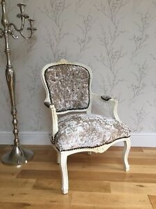 French Louis style Shabby Chic Cream Crushed Velvet Chair / cream ...