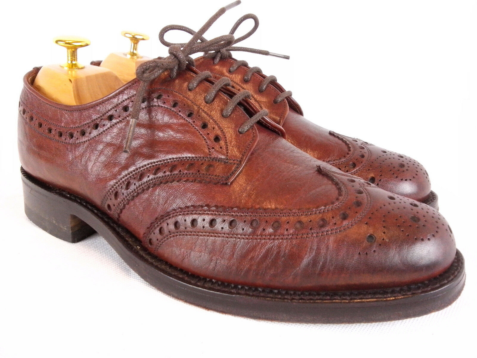 Cheaney for Super Calf Hampton Antler Burgundy Calf Super Leather Brogue Derby 7.5 EE wide 96cd10