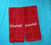 Campbell's Soup Logo Embroidered Maroon Red Kitchen Towel Set