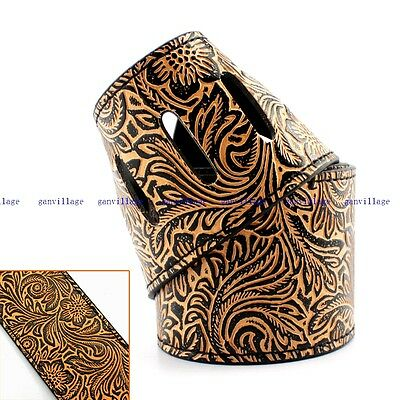 Cool Guitar Strap Leather Embossed Adjustable For Acoustic Guitars Electric Bass
