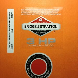 Briggs-amp-Stratton-3-hp-1978-1980-Shroud-Labels-Decals-set-of-3-78-3SET