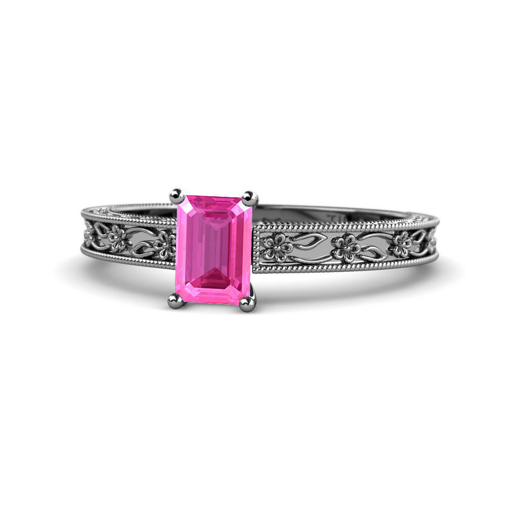 Emerald Cut Pink Sapphire Solitaire Engagement Ring 0.90 ct 14K gold JP 135298