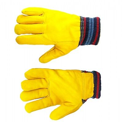 Fully Fleece Lined Leather Work Gloves Drivers Cold Work
