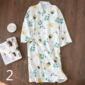 Ladies Floral Cotton Kimono Pajamas Bathrobe Sleepwears Japanese Nighties Kawaii