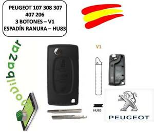 LOGEMENT-CLE-PEUGEOT-107-308-307-407-206-207-V1-HU83-3-BOUTONS-SPRAT-RAINURE