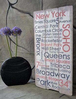 Bild Holzbild Holzschild Vintage Wandschild Landhaus Shabby Städte 80 x 40