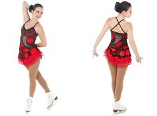 New Skating Competition Dress Elite Xpression 1402 Black Red Flowers Child 8-10