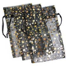 3 Pakdecorative Organza Gift Jewelry Pouches Black Withgold Stars