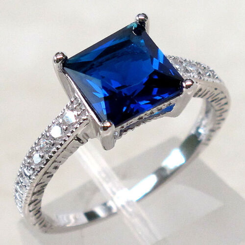 Charmant 2 ct Sapphire STERLING 925 SILVER RING Taille 5-10