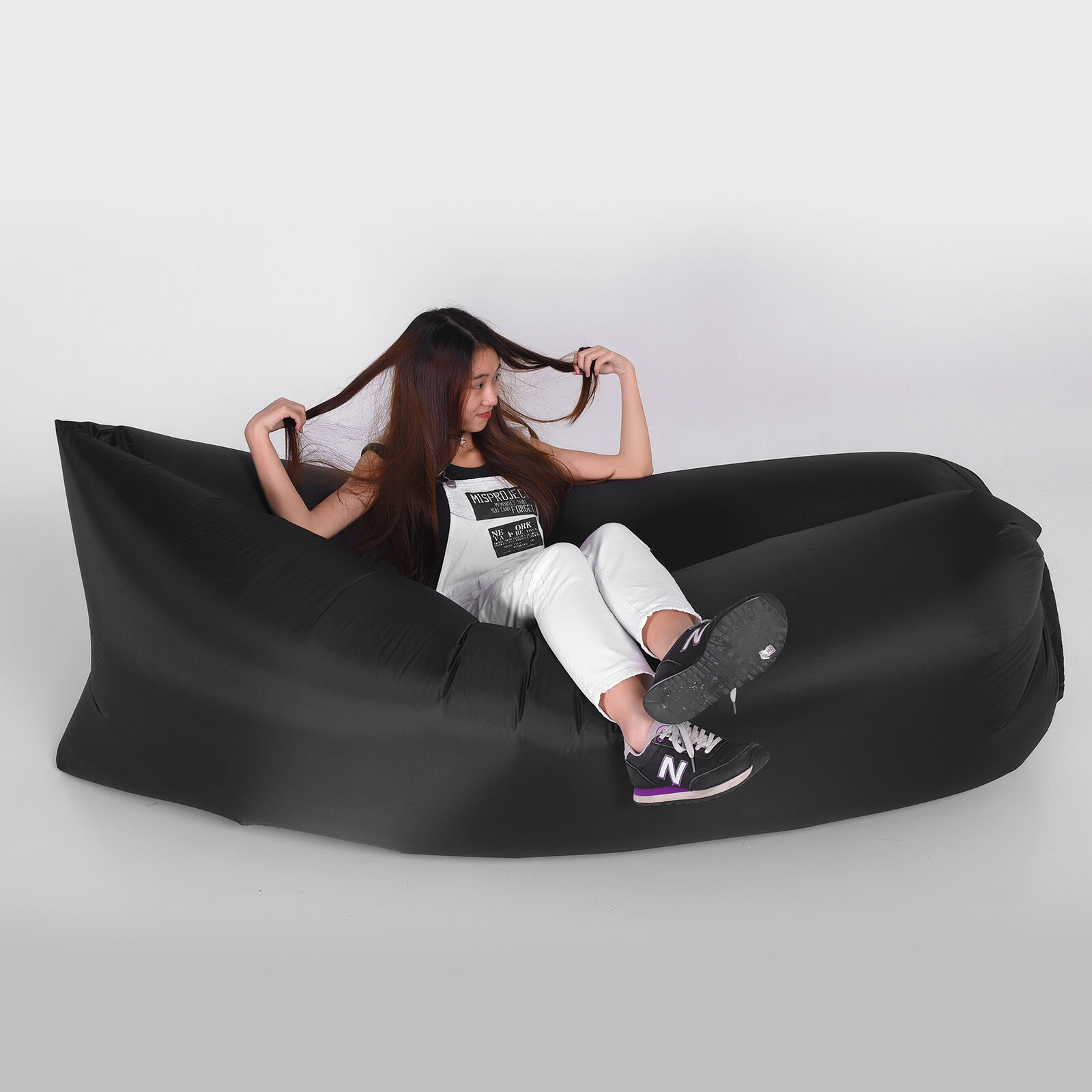 Sofa Fast Inflatable Air Lazy Sleeping Bag Camping Lay Bed Storage Bag