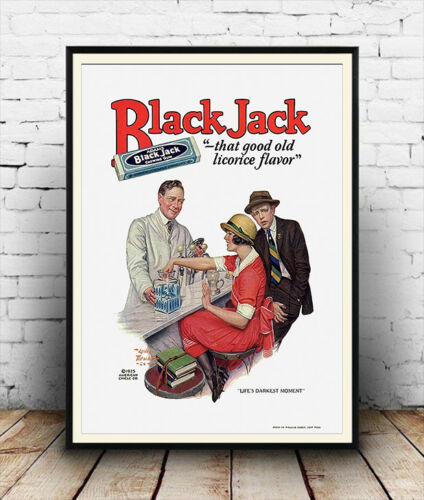 Vintage chewing gum advertising Reproduction poster Black Jack Wall art.