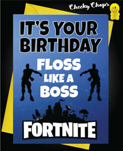 Birthday Greetings Card Floss Boss Fortnite Teenage Game Funny