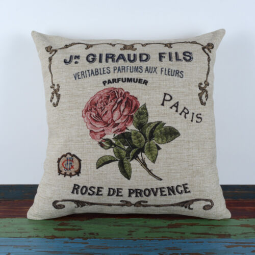 """Vintage Butterfly Cushion Cover French Country Flower Pillow Case Pink Rose 18/"""""""