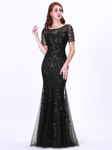 Ever-Pretty Black Sequin Mother Of Bride Party Dress Fishtail Cocktail Gown 7707