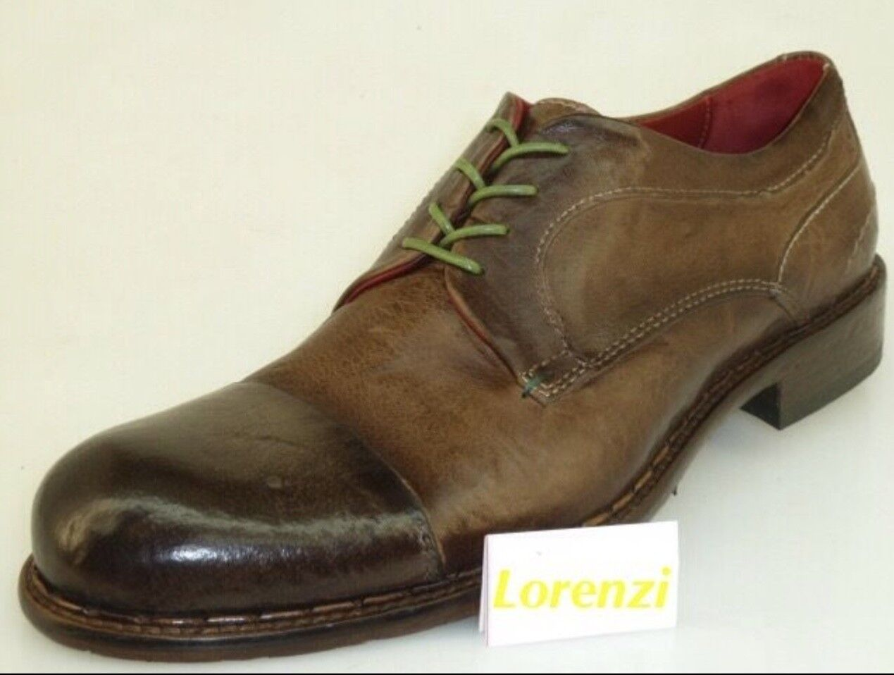 Lorenzi shoes Mens Made in  Handmade Italian Lace Up  41 Leather