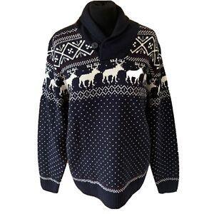 """Next Herren Weihnachten Xmas Pullover Size Large Shawl Neck Rentier Nordic 42"""" Brustumfang"""