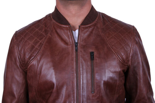 Brandslock Linea Uomo Giacca Da Motociclista in vera pelle vintage effetto anticato