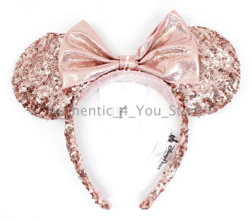 NEW Disney Parks Minnie Rose Gold Sequin Ear Headband Millennial Pink IN HAND