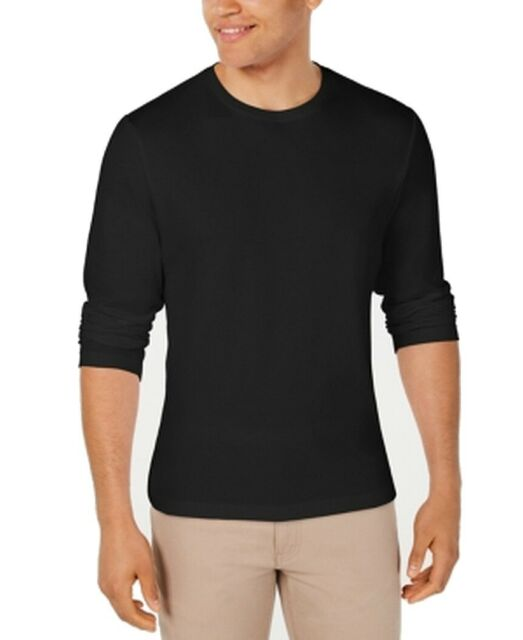 Alfani Mens T-Shirt Black Size 2XL Crewneck Long Sleeve Stretch Tee $39 #013