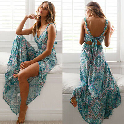 989b62ae026e3 Beautiful Long Boho Maxi Dress Summer Strappy V Neck Bandage Sleeveless  Skirt | eBay