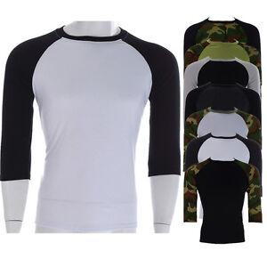 Mens 3 4 Sleeve Baseball Sport Tee T Shirt Tops Shirt