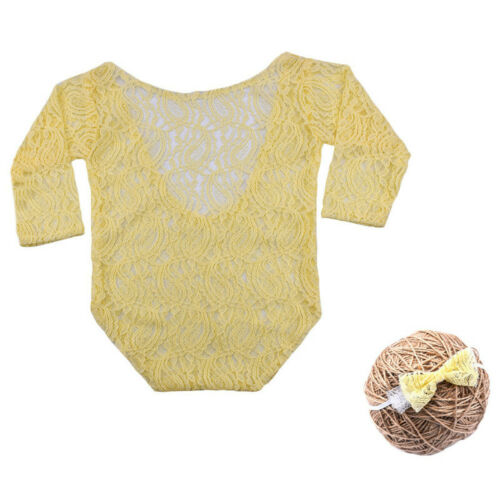 Newborn Baby Girl Clothes Lace Floral Romper Backless Bodysuit Photo Prop  HXE