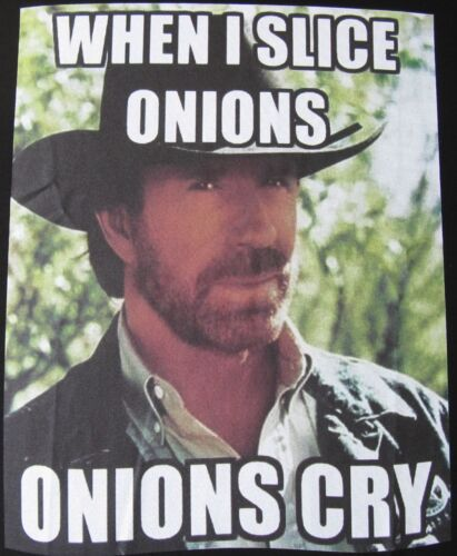 Onions Cry Black Cotton T Shirt New Mens Chuck Norris Fact When I Slice Onions