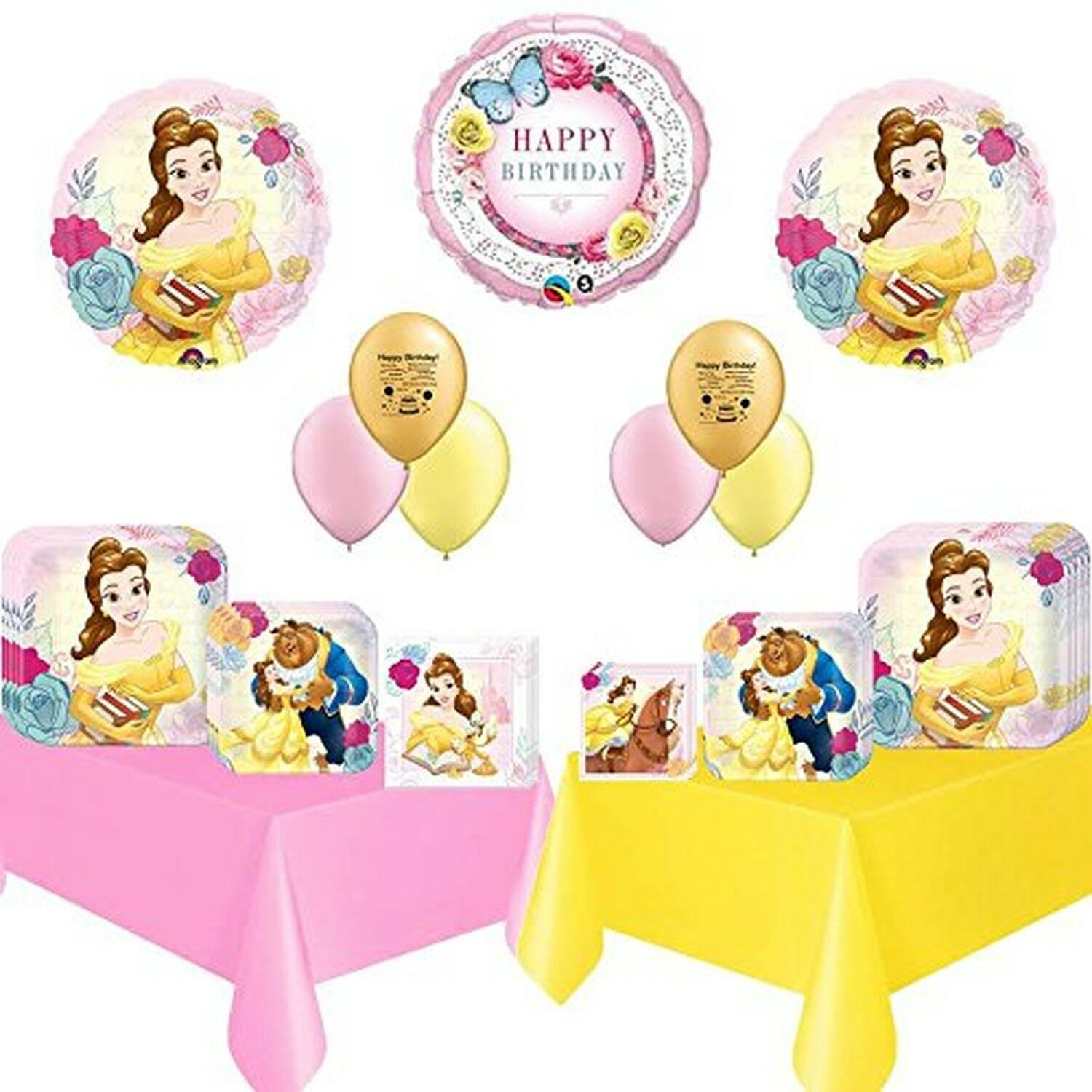 Beauty and Beast Party Supply and Balloon Bundle