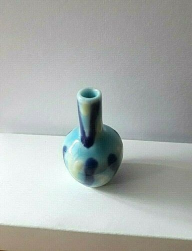 en 12th échelle Blue Abstract patterned ceramic vase Maison de poupées miniature