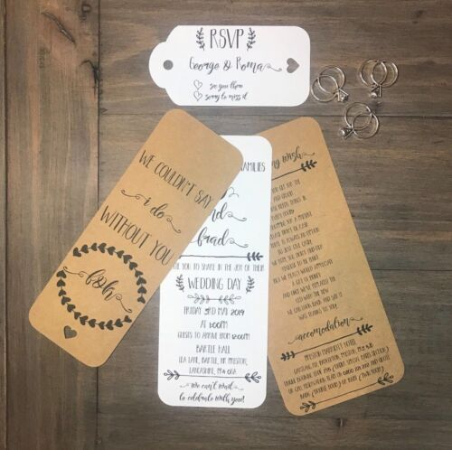 1 x SAMPLE DAY EVENING WEDDING INVITATION WITH RSVP TAG RUSTIC
