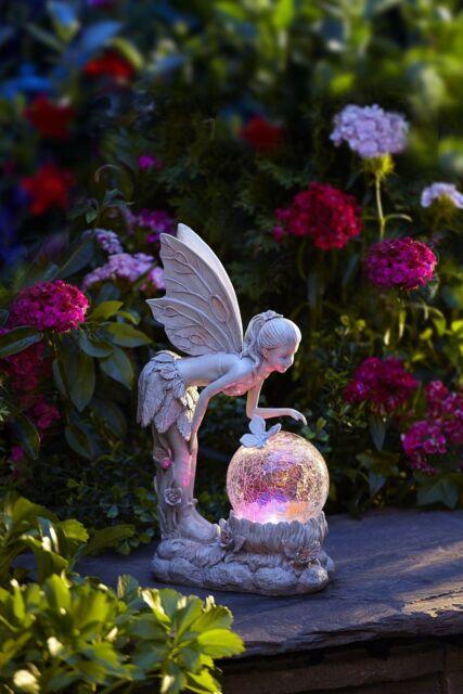 Outdoor Garden Lighting Fairy Statue Globe Solar Powered Lawn Ornaments  Decor