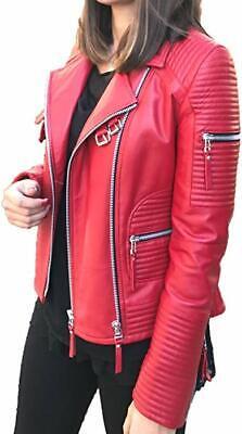 Women/'s Red Genuine Lambskin Leather Motorcycle Slim fit Biker Leather Jacket