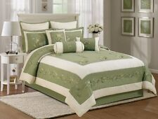 7pcs Olive Green Soft Microfiber Embroidery Chrysanthemum Comforter Set King