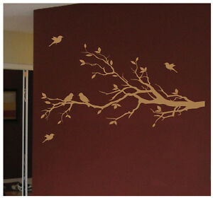 Tree branch with 10 birds nursery wall decal deco art for Big tree with bird wall decal deco art sticker mural