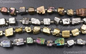 Natural-Iron-Pyrite-Gemstone-Cutting-Freeformed-6mm-8mm-Nugget-Spacer-Beads-8-034