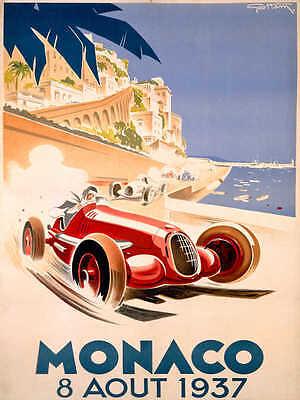 VINTAGE 1937 MONACO GRAND PRIX AUTO RACING POSTER PRINT 24x18 9MIL PAPER