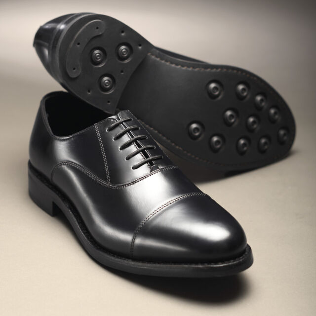 ee2272beda Samuel Windsor Mens Shoe Black Oxford Leather Boot Lace Up Rubber Sole Size  5-14