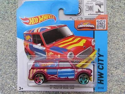 Hot Wheels 2015 #027/250 1967 AUSTIN MINI VAN Satin Red HW CITY CASE D