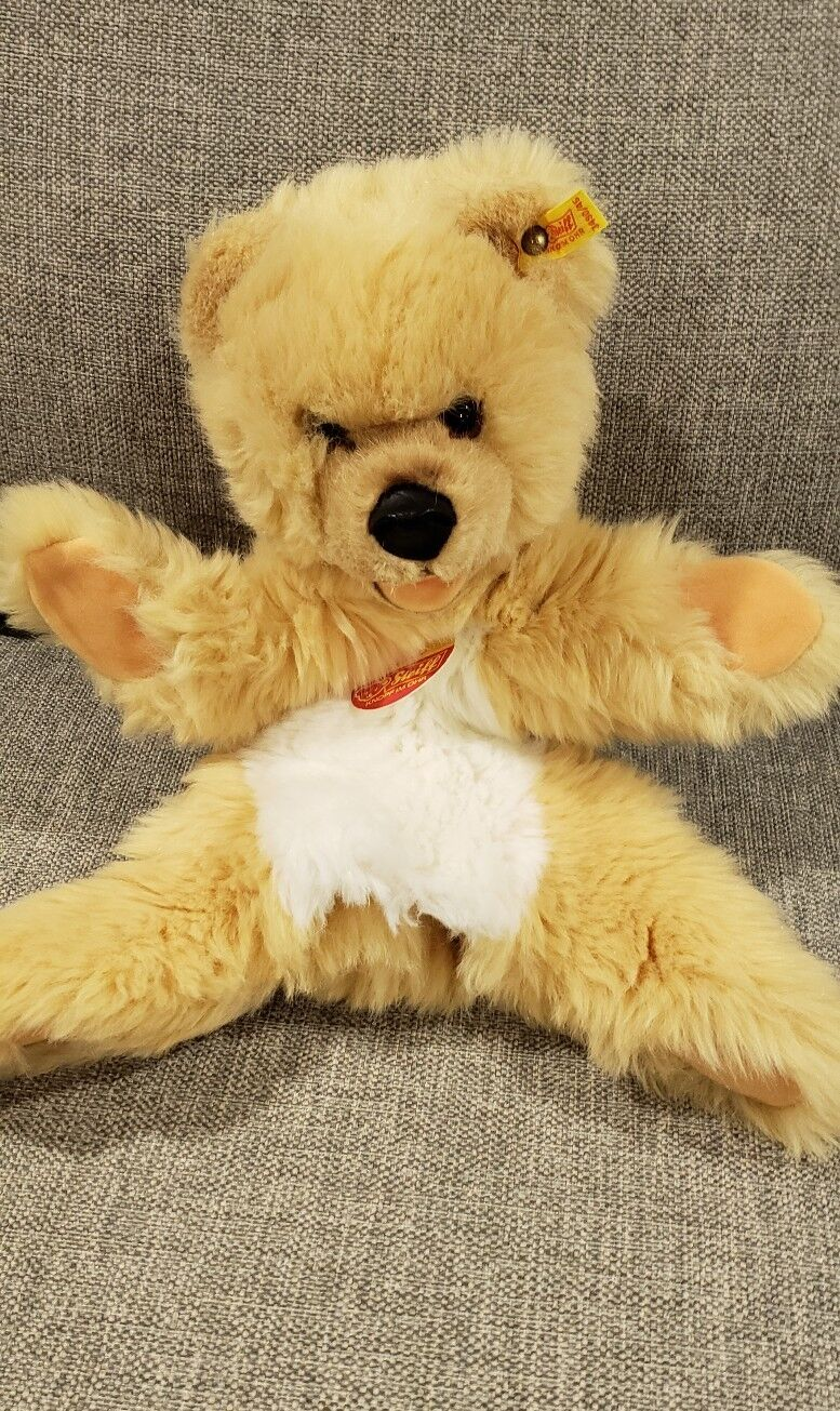 New With Tags Vintage Steiff Mimic Mimic Mimic Bear Elbow Puppet Ear Tag 3490 45 215