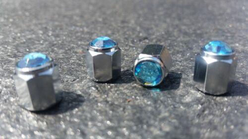 Aqua Blue Jewel Crystal Silver Diamond PNEUMATICO TAPPI Polvere Valvola leghe x4 AUTO MOTO