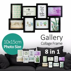 4x6 gallery collage 8 in 1 photo picture frame black white wall