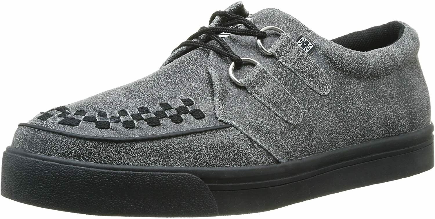 T.U.K. Mens Women's Leather Creepers Shoes In Charcoal Black uk 3